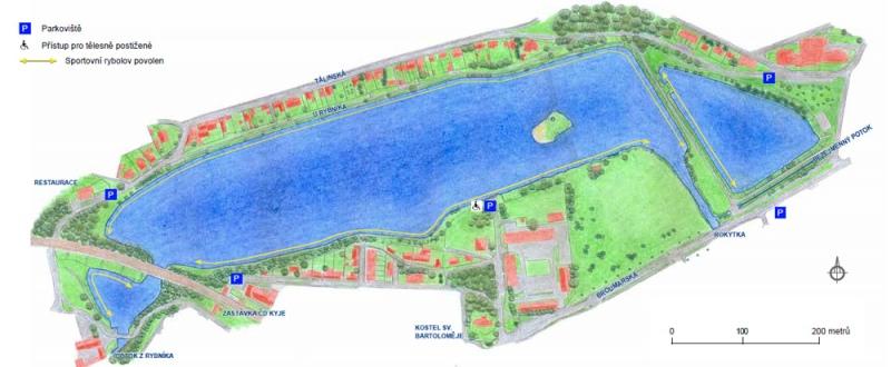 Rokytka 1 - Kyjský rybník: mapka s vyznačení oblastí, kde je lov ryb povolen (žlutou barvou)., Autor fota: ČRS